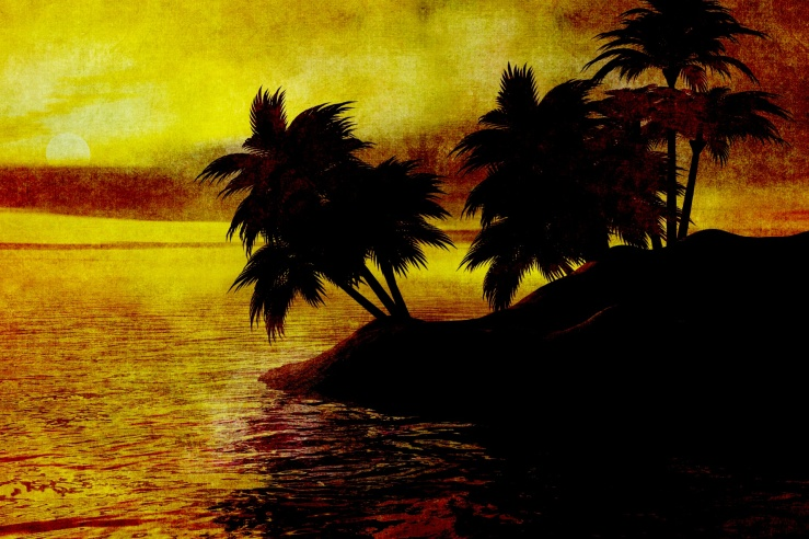 vintage-sunset-painting-island