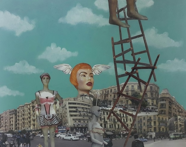 Huda Lutfi_Imagining the City_2016_Photographs, acrylic and oil paint on wood panel, 50 x 40 x 2 cm_0