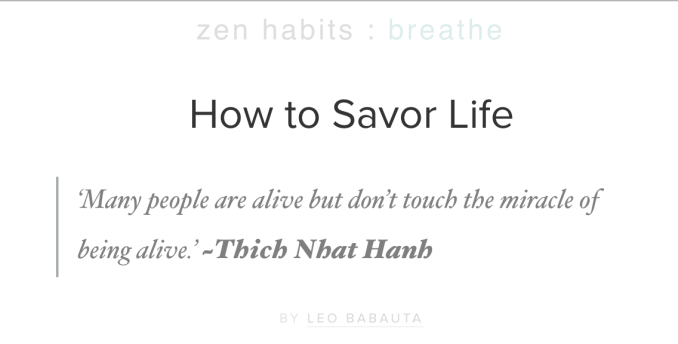 how to savor life